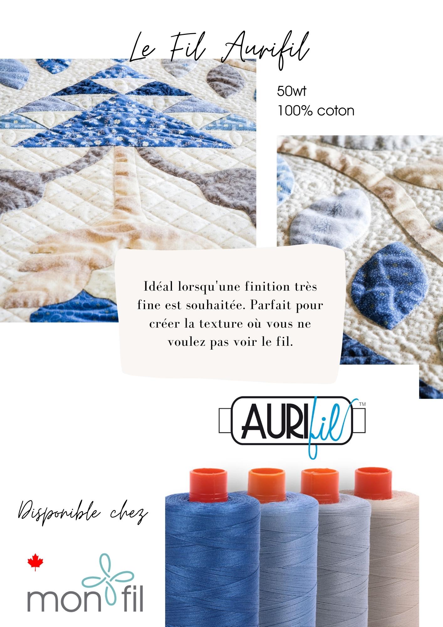 fil de courtepointe 100% coton Aurifil pour une finition parfaite